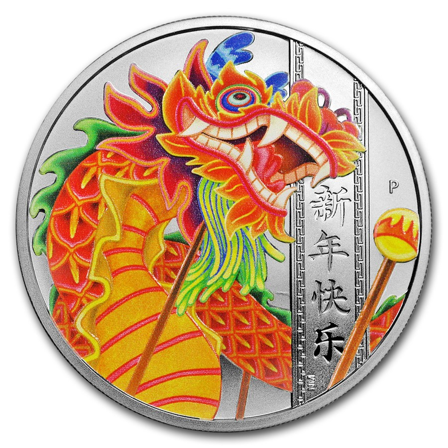 2019 Tuvalu 1 oz Silver Chinese New Year Dragon Proof (Colorized)