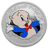 2019 Tuvalu 1 oz Silver Looney Tunes Lunar Porky Pig Proof