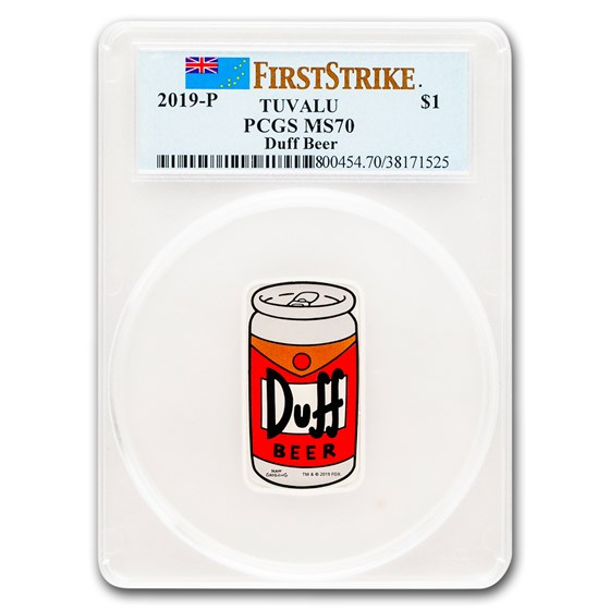2019 Tuvalu 1 oz Silver The Simpsons: Duff Beer MS-70 PCGS