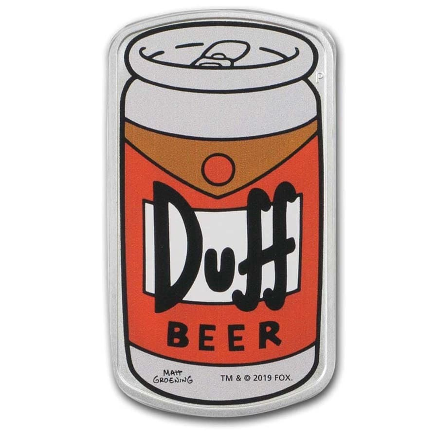 2019 Tuvalu 1 oz Silver The Simpsons: Duff Beer Proof