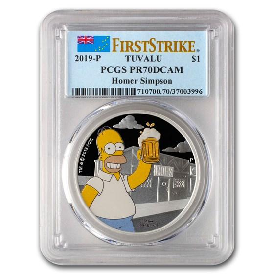 2019 Tuvalu 1 oz Silver The Simpsons: Homer PR-70 PCGS (FS)