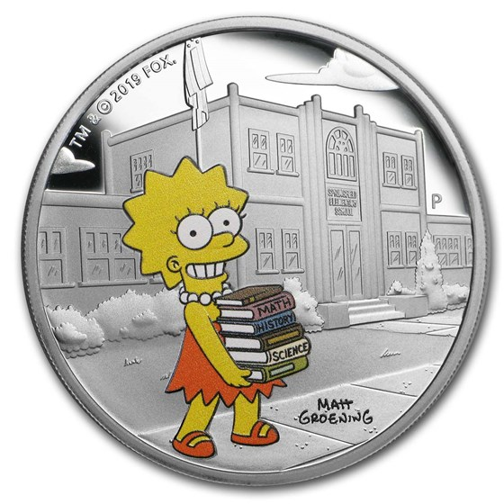 2019 Tuvalu 1 oz Silver The Simpsons: Lisa Proof