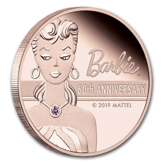 2019 Tuvalu 2 oz Rose Gold 60th Anniversary Barbie™ Proof