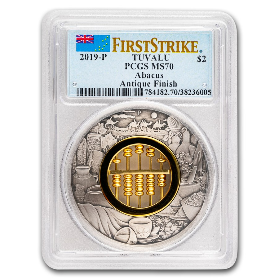 2019 Tuvalu 2 oz Silver Antiqued Abacus MS-70 PCGS (FirstStrike®)