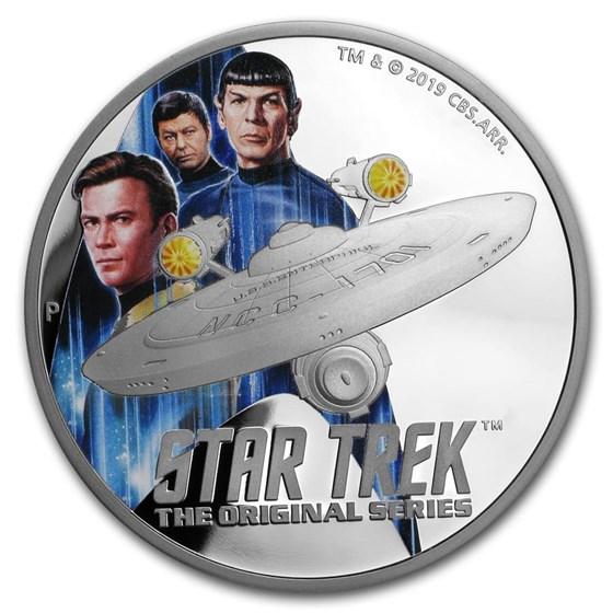 2019 Tuvalu 2 oz Silver Star Trek Enterprise & Crew Proof