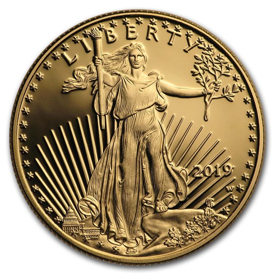 2019-W 1/2 oz Proof American Gold Eagle (w/Box & COA)