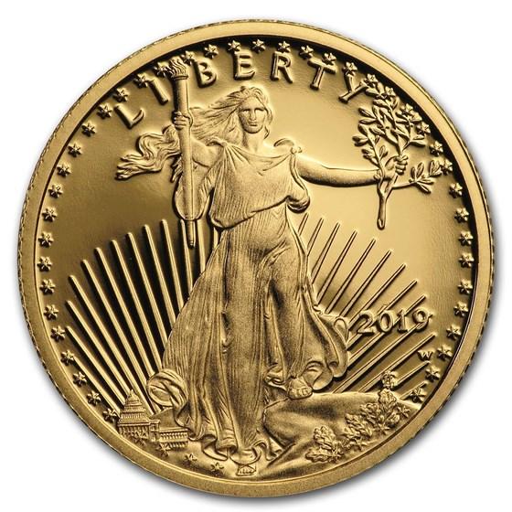 2019-W 1/4 oz Proof American Gold Eagle (w/Box & COA)