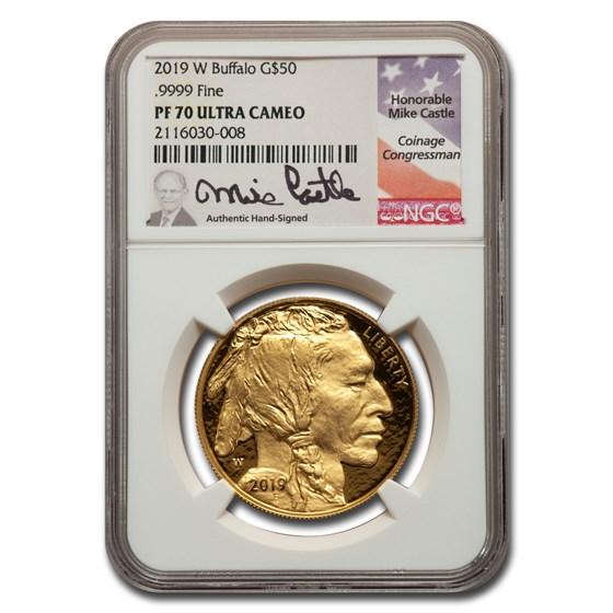 2019-W 1 oz Proof Gold Buffalo PF-70 NGC (Castle)