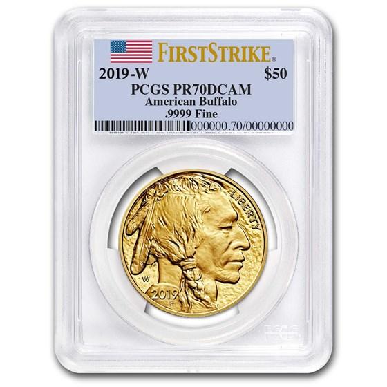 2019-W 1 oz Proof Gold Buffalo PR-70 PCGS (FS, Flag Label)