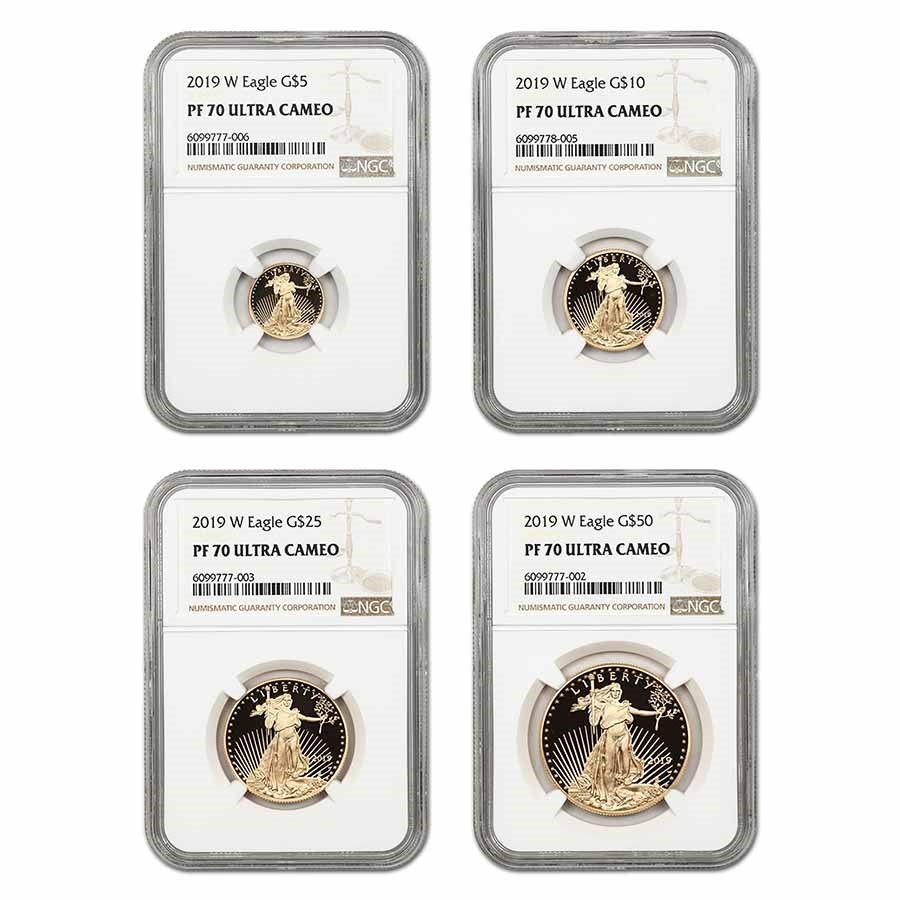 2019-W 4-Coin Proof American Gold Eagle Set PF-70 NGC