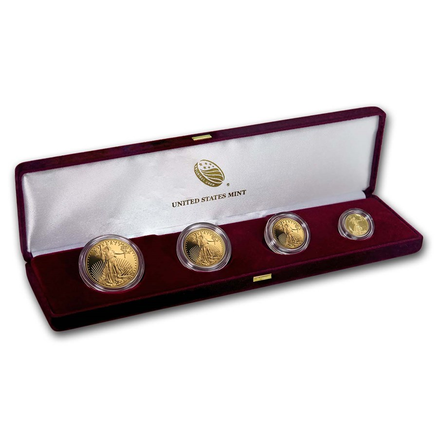 2019-W 4-Coin Proof American Gold Eagle Set (w/Box & COA)