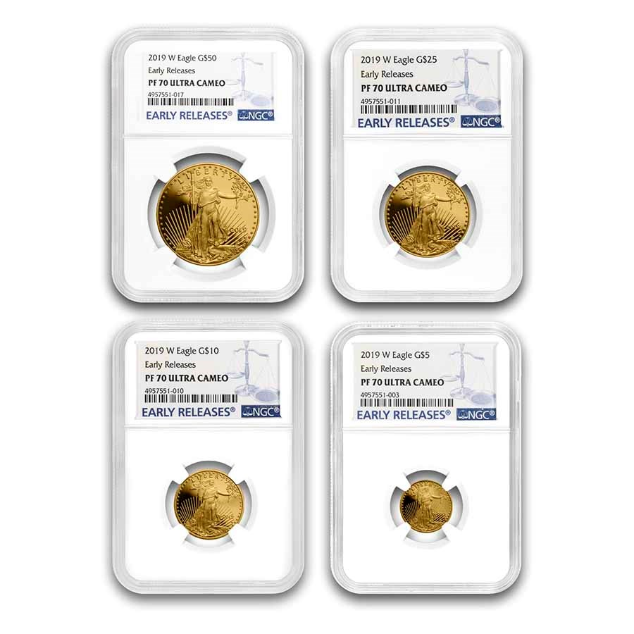 2019-W 4-Coin Proof Gold American Eagle Set PF-70 NGC (ER)