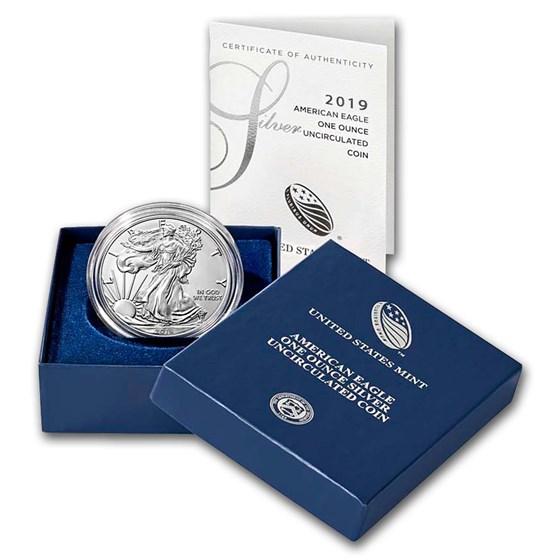 2019-W Burnished American Silver Eagle (w/Box & COA)