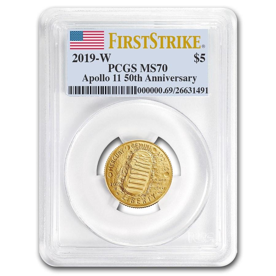 2019-W Gold $5 Apollo 11 50th Anniv MS-70 PCGS (FirstStrike®)