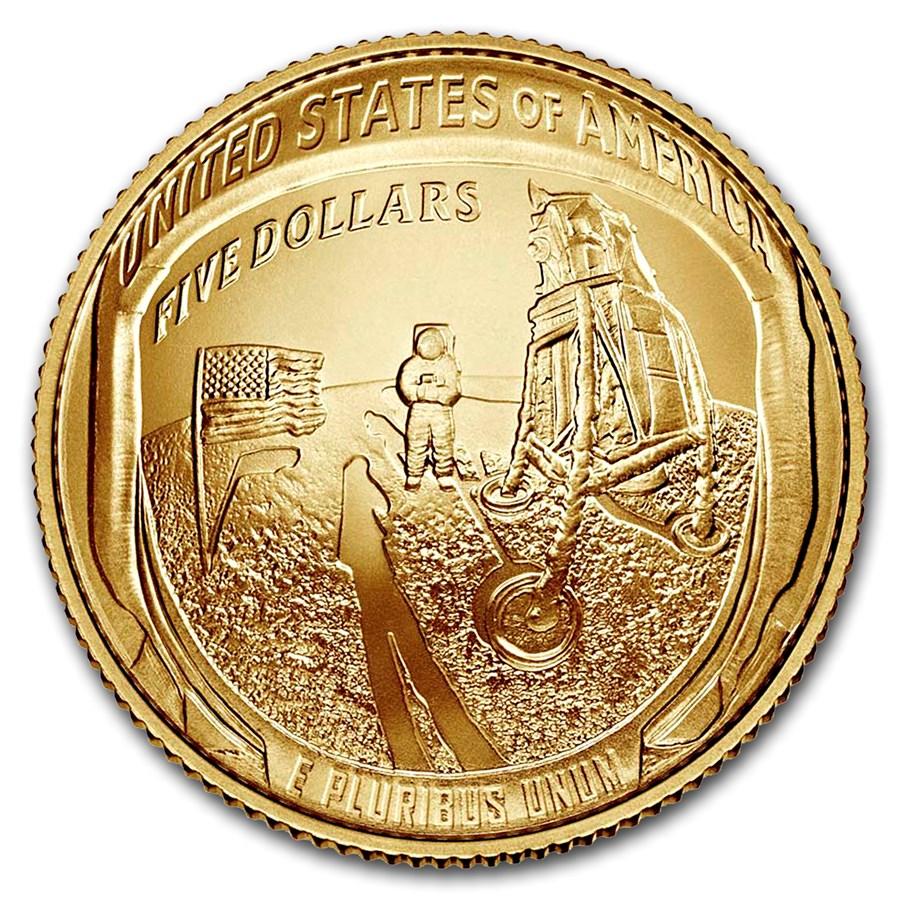 2019-W Gold $5 Apollo 11 50th Anniversary BU (Box & COA)
