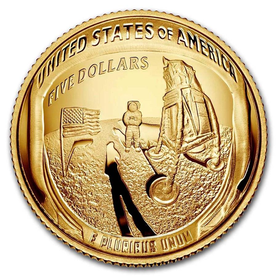 2019-W Gold $5 Apollo 11 50th Anniversary Proof (Box & COA)
