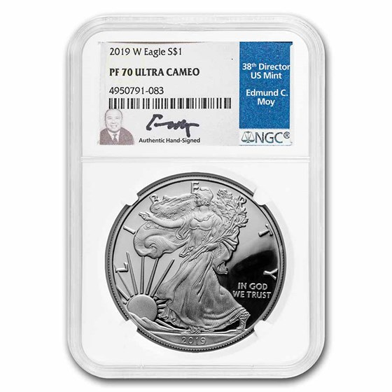 2019-W Proof American Silver Eagle PF-70 NGC (Moy Label)