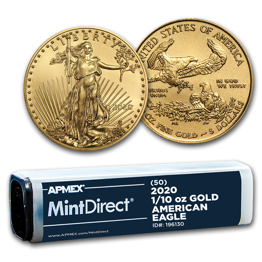 2020 1/10 oz Gold American Eagle (50-Coin MintDirect® Tube)