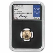 2020 1/10 oz Gold Eagle MS-70 NGC (FDI, Ed C. Moy Signed)