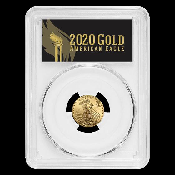 2020 1/10 oz Gold Eagle MS-70 PCGS (FirstStrike®, Black Label)