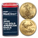 2020 1 oz American Gold Eagle (20-Coin MintDirect® Tube)