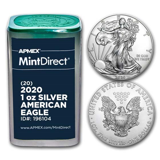 2020 1 oz American Silver Eagles (20-Coin MintDirect® Tube)