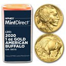 2020 1 oz Gold Buffalo (20-Coin MintDirect® Tube)