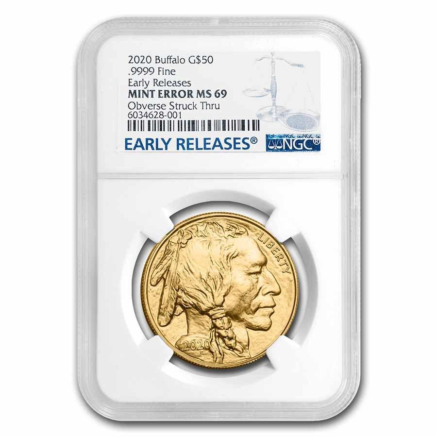 2020 1 oz Gold Buffalo MS-69 NGC (Mint Error, Obv Struck Thru)