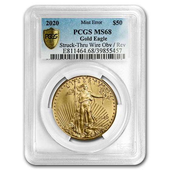2020 1 oz Gold Eagle MS-68 PCGS (Error, Obv/Rev Struck-Thru Wire)