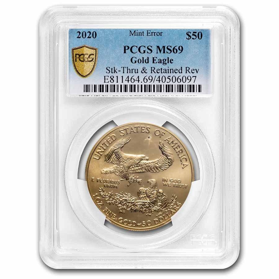 2020 1 oz Gold Eagle MS-69 PCGS (Error, Strike-Thru & Retained)