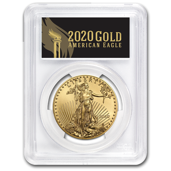 2020 1 oz Gold Eagle MS-70 PCGS (First Day, Black Label)