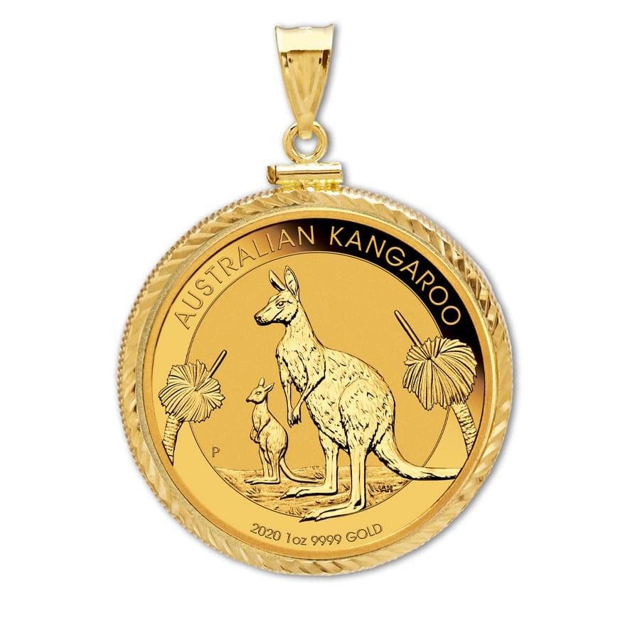 2020 1 oz Gold Kangaroo Pendant (Diamond-ScrewTop Bezel)