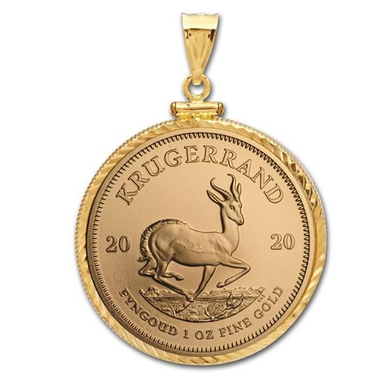 2020 1 oz Gold Krugerrand Pendant (Diamond-Screw Top Bezel)