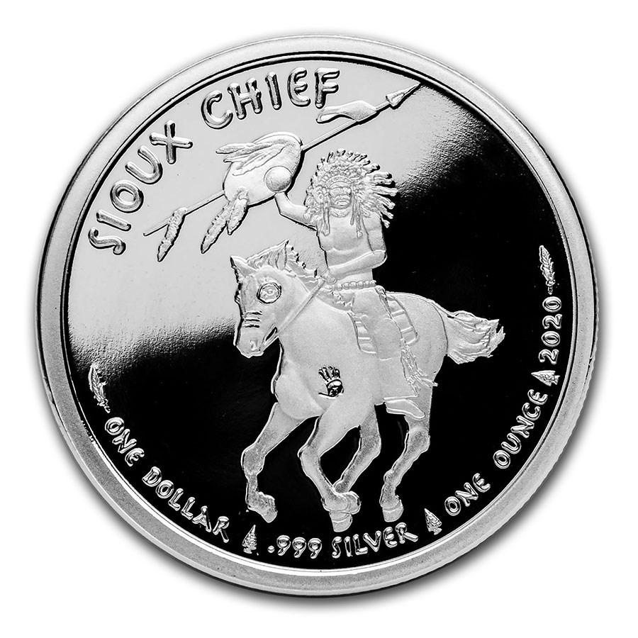 2020 1 oz Silver $1 Sioux Indian War Chief BU