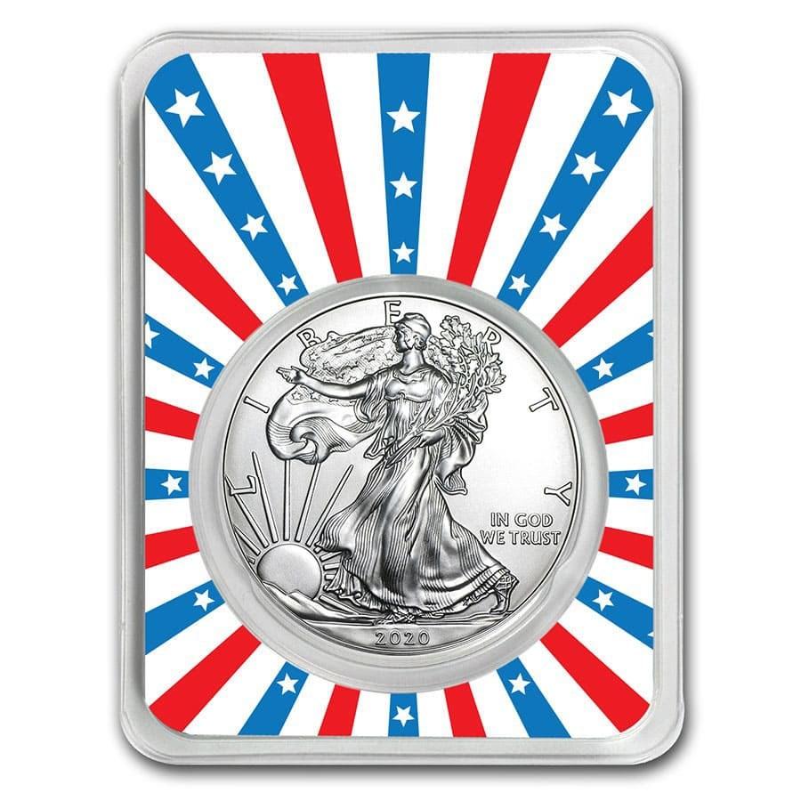 2020 1 oz Silver American Eagle - Stars & Stripes Burst