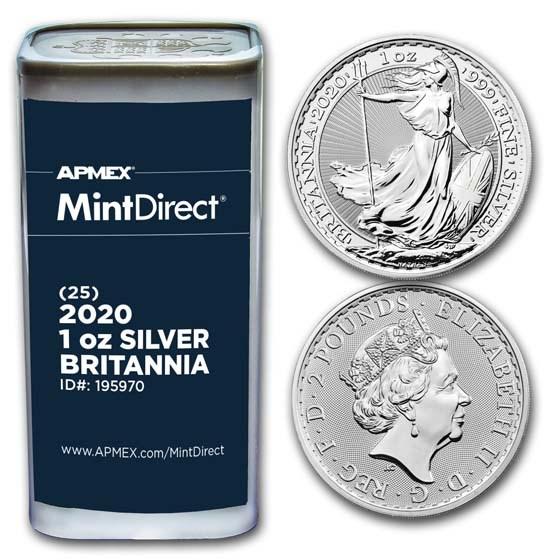 2020 1 oz Silver Britannia (25-Coin MintDirect® Tube)