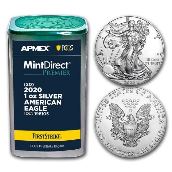 2020 1 oz Silver Eagles (20-Coin MD Premier + PCGS FS Tube)