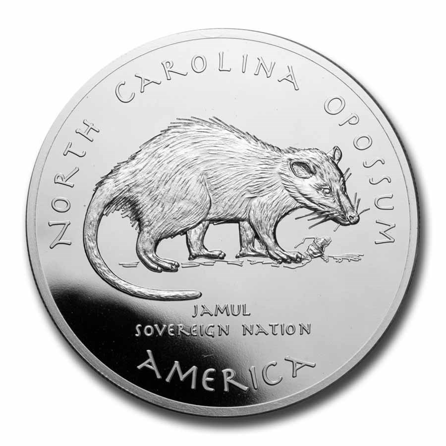 2020 1 oz Silver State Dollars North Carolina Opossum