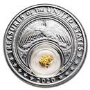 2020 1 oz Silver Treasures of the US California Gold
