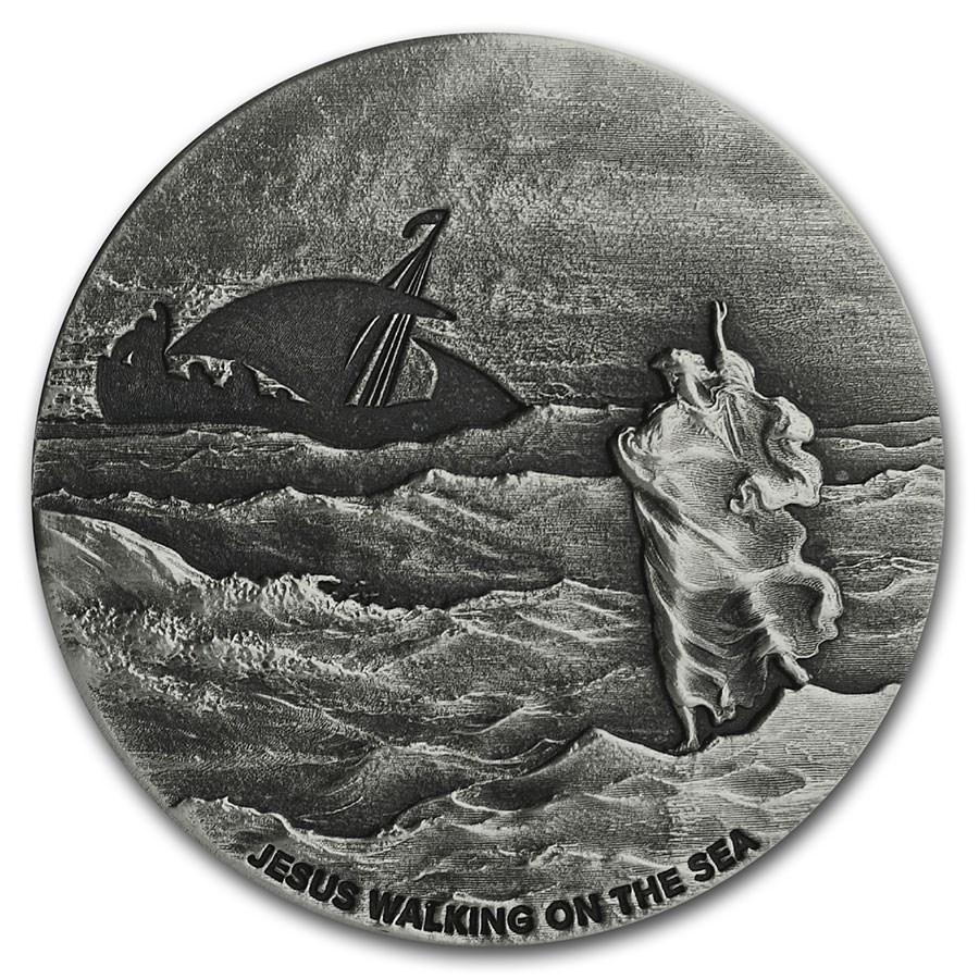 2020 2 oz Silver Coin - Biblical Series (Jesus Walks on the Sea)