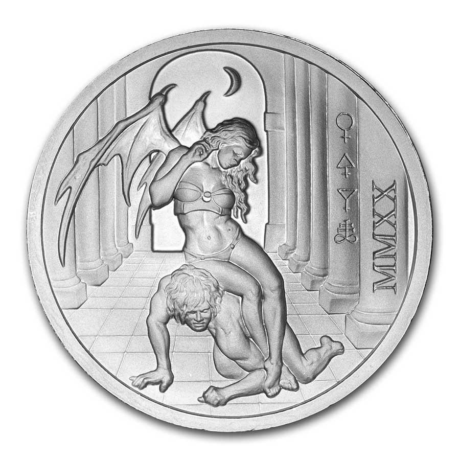 2020 Temptation of the Succubus BU Finish 2oz .999 Fine Silver IN STOCK!