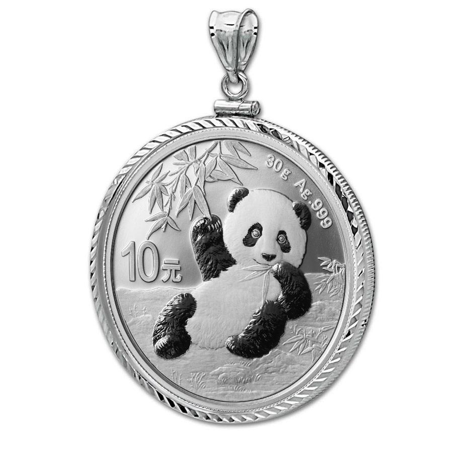 2020 30 gram Silver Panda Pendant (Diamond-ScrewTop Bezel)