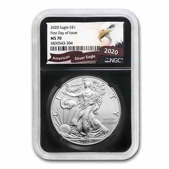 2020 American Silver Eagle MS-70 NGC (Random Label/Core, FDI)
