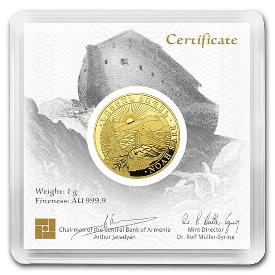 2020 Armenia 1 gram Gold 100 Dram Noah's Ark BU