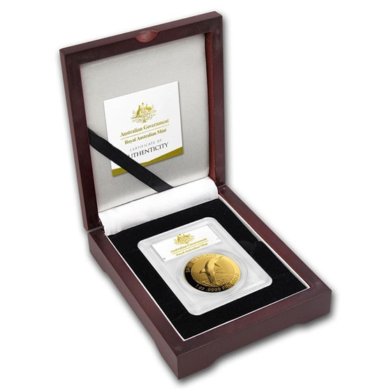 2020 AUS 1 oz Gold $100 Dolphin MS-70 PCGS (COA #8, First Day)