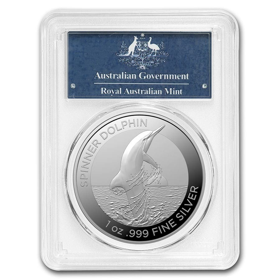 2020 AUS 1 oz Silver Spinner Dolphin MS-69 PCGS (FirstStrike®)