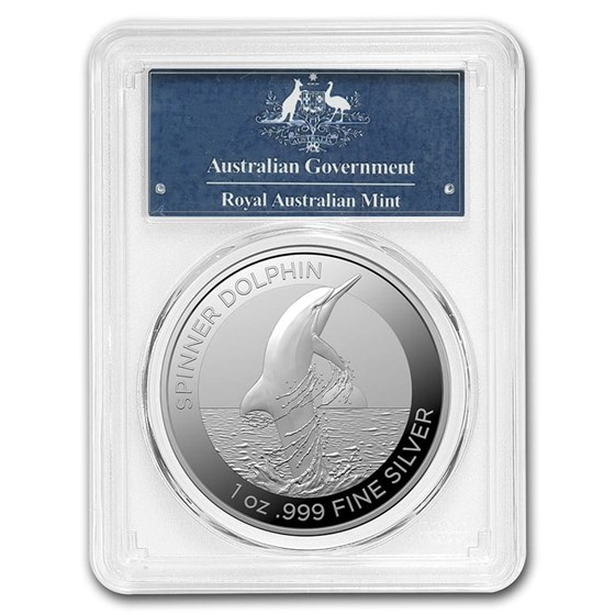 2020 AUS 1 oz Silver Spinner Dolphin MS-70 PCGS (First Day Issue)