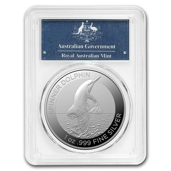 2020 AUS 1 oz Silver Spinner Dolphin MS-70 PCGS (First Strike)