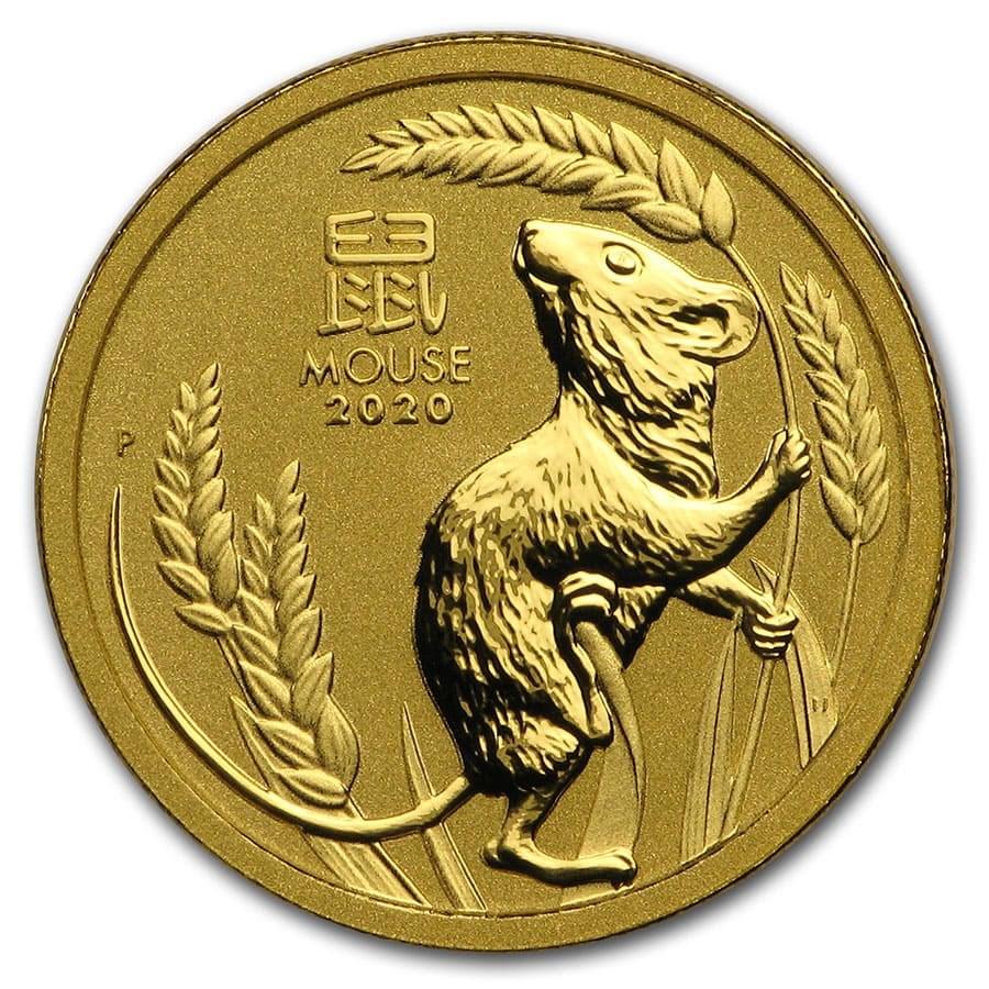 2020 Australia 1/10 oz Gold Lunar Mouse BU (Series 3)
