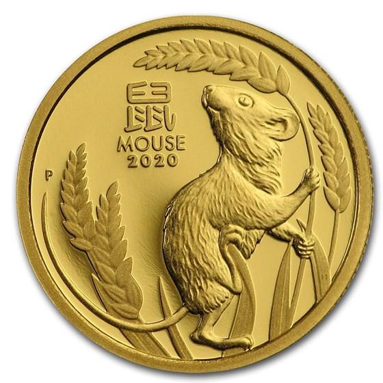 2020 Australia 1/10 oz Gold Lunar Mouse Proof (w/box & COA)